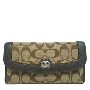 COACH Signature Brown & Khaki Turnlock Wallet